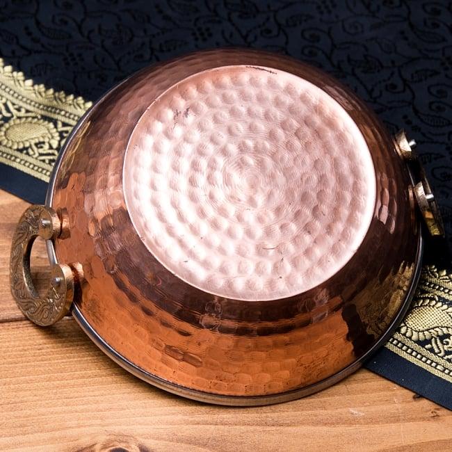 槌目仕上げ 銅装飾のカダイ [装飾持ち手付](直径:約15cm) 4 - 裏面です