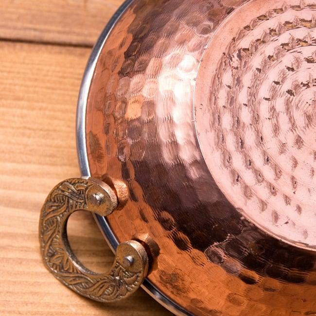 槌目仕上げ 銅装飾のカダイ [装飾持ち手付](直径:約15cm) 5 - 打ち出し銅のパターンが綺麗です