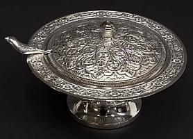 シルバーメタルの飾り皿 蓋+スプーン付