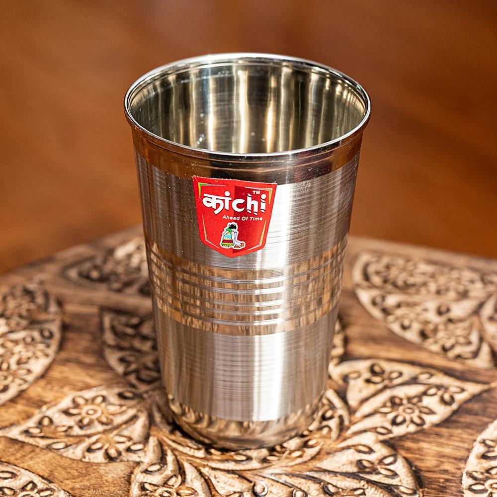 ステンレスのチャイカップ[直径:約7.5cm x 高さ:約11cm ] 2 - 上からの写真です