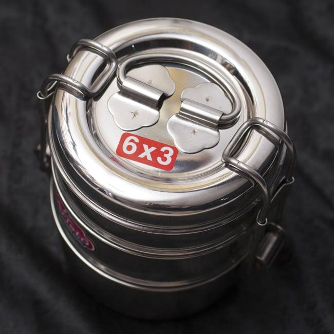3段インド弁当箱 【少し小盛りサイズ 直径:約9.5cm 高さ:約13cm】 3 - 上からの写真です