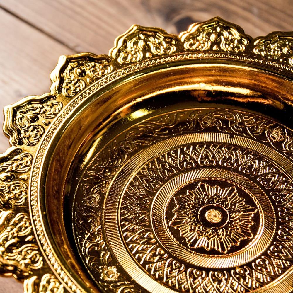 タイのお供え入れ 飾り皿 ゴールドとシルバー〔高さ:約10.5cm 直径:約20cm〕 4 - 拡大写真です