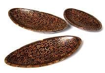 バリのシナモン飾り皿 楕円 3枚セット