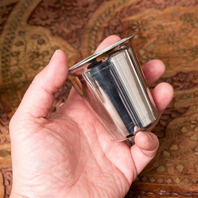 南インドのコーヒーカップとソーサーセット〔直径:約9.2cm〕 6 - 裏面です