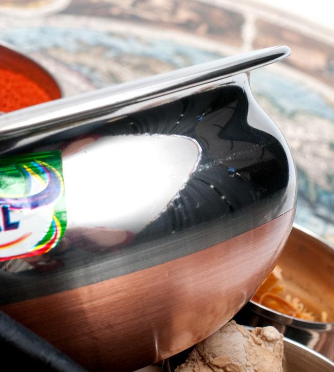 ハンディ - インドの鍋【直径約16.5cm】 3 - 横からの写真です