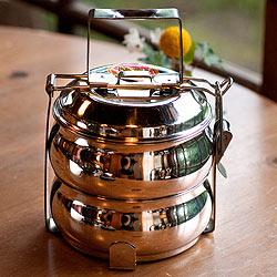 【2段】インドの弁当箱 ベーグル型[16cm]