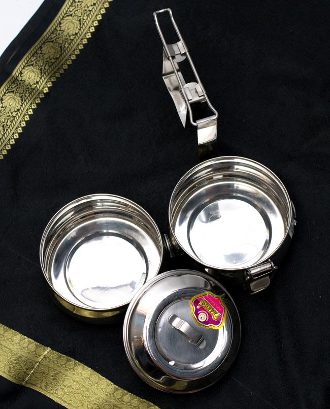 【2段】インドの弁当箱 ベーグル型[16cm] 9 - このようなパーツが段々になってつくられています。