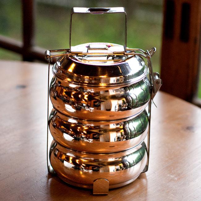 【3段】インドの弁当箱 ベーグル型[23cm(取手含む)]の写真