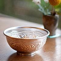 インド伝統唐草エンボスのアルミボウル【直径:約9.2cm】