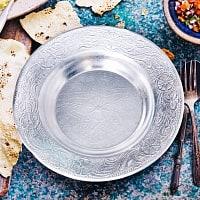 インド伝統唐草エンボスのアルミ皿【直径:12.8cm】