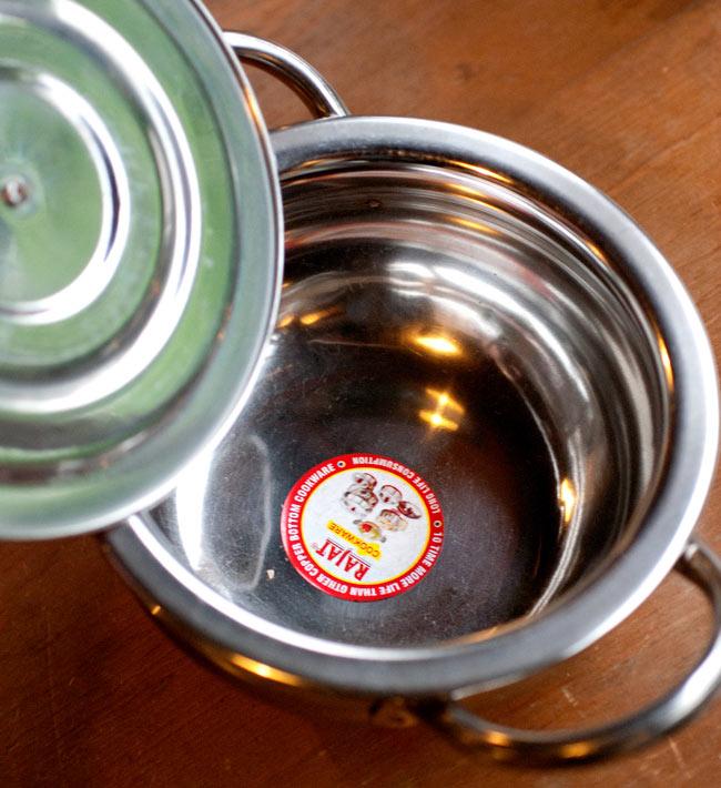 [蓋なし]【持ち手付き】ハンディ - インドの鍋【直径約16cm】の写真3 -