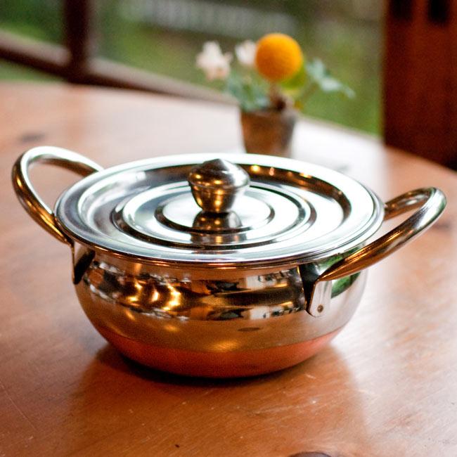 [蓋なし]【持ち手付き】ハンディ - インドの鍋【直径約16cm】の写真