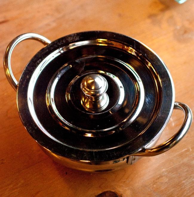 【蓋と持ち手付き】ハンディ - インドの鍋【直径約18cm】 2 - 上からの写真です