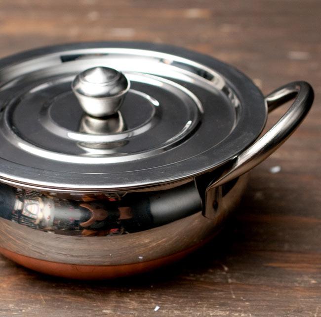 【蓋と持ち手付き】ハンディ - インドの鍋【直径約18cm】 4 - 横からの写真です