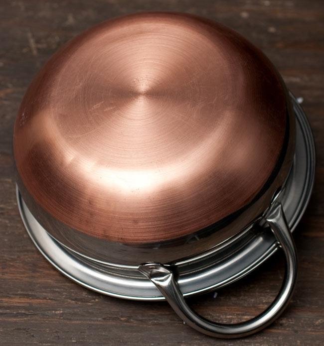【蓋と持ち手付き】ハンディ - インドの鍋【直径約18cm】 5 - 裏面の写真です