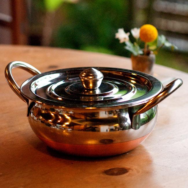 【蓋と持ち手付き】ハンディ - インドの鍋【直径約18cm】の写真