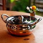 【蓋と持ち手付き】ハンディ - インドの鍋【直径約18cm】