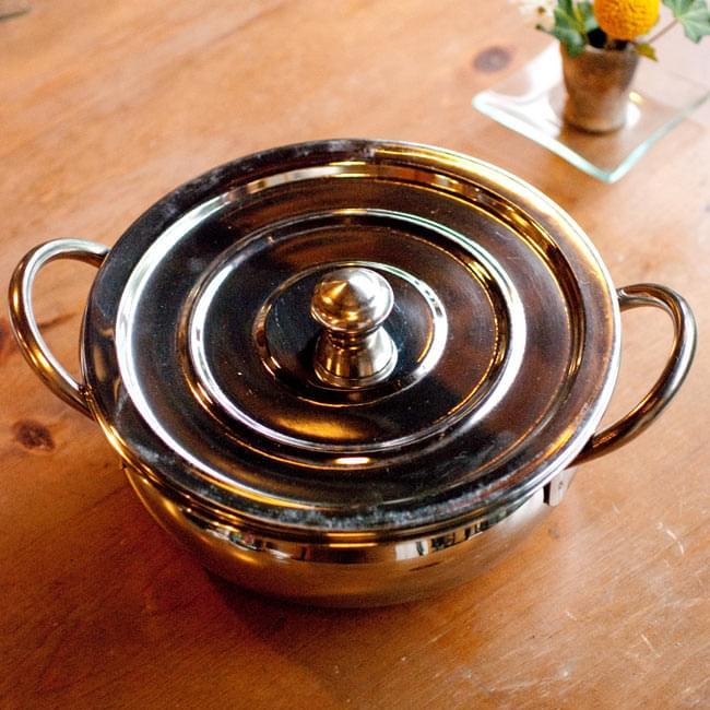 【蓋と持ち手付き】ハンディ - インドの鍋【直径約20cm】 2 - 上からの写真です