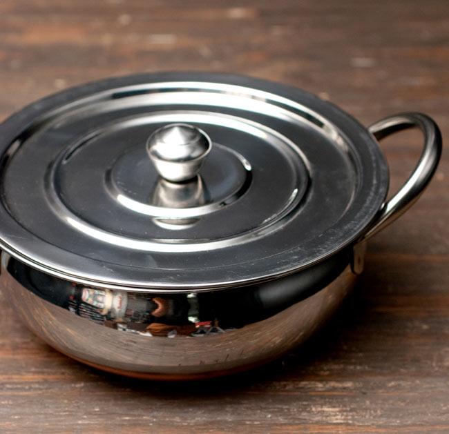 【蓋と持ち手付き】ハンディ - インドの鍋【直径約20cm】 4 - 横からの写真です