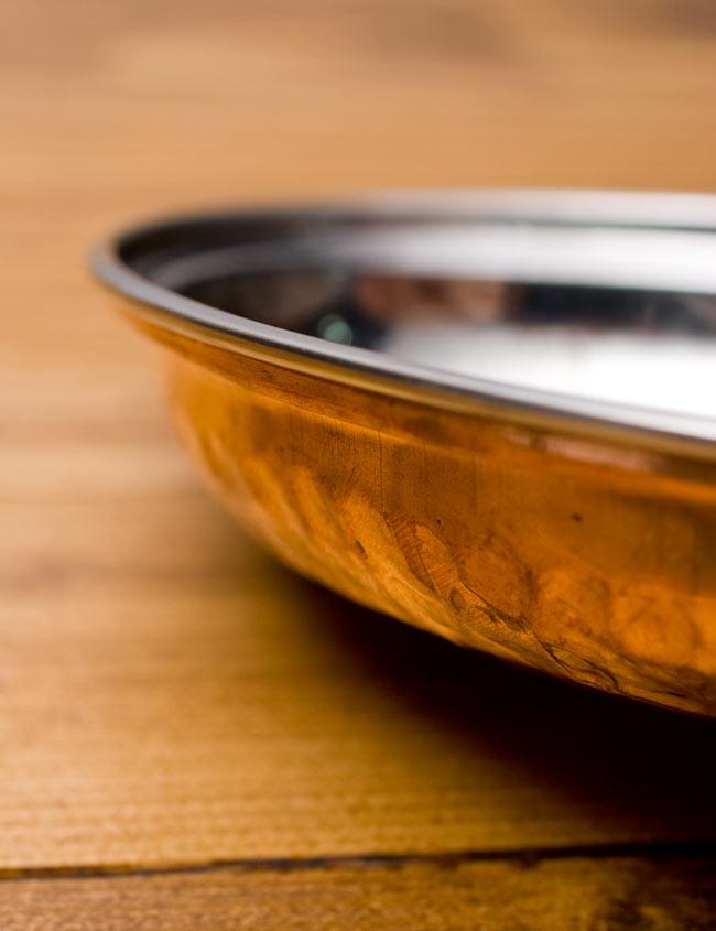 【冷めにくい!二層式】インドのステンレスと銅製 オーバルプレート[約17.5cm×12cm]の写真3 - 真横から見てみました。