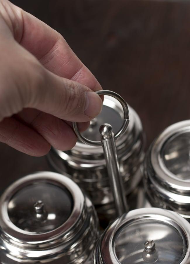 卓上マサラケース 樽型 4box 3 - 持ち手が付いているのもキュートです。
