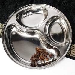 小さめの3分割カレー丸皿 パオバジ[直径約26cm]