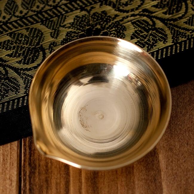 インドの礼拝用 聖なる文字入りブラスボウル[5.6cm] 4 - 中はこのようになっております