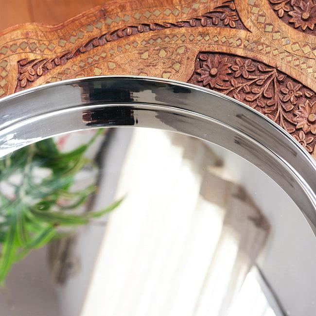 槌目付き 銅装飾のロイヤルターリー(カレー大皿:直径約31cm) 3 - 表側は高品質なステンレスが用いられています。