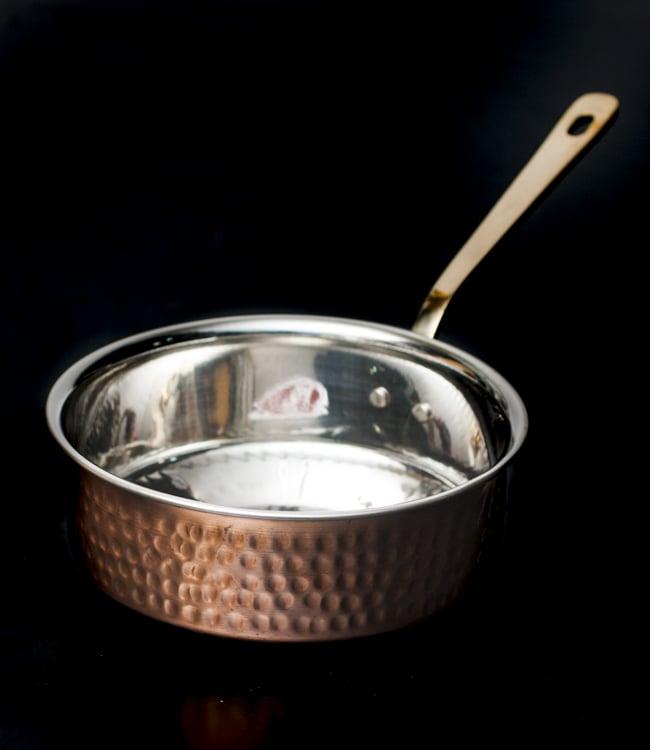 槌目付き 銅装飾のロイヤルソースパン(16.5cm×5cm)の写真