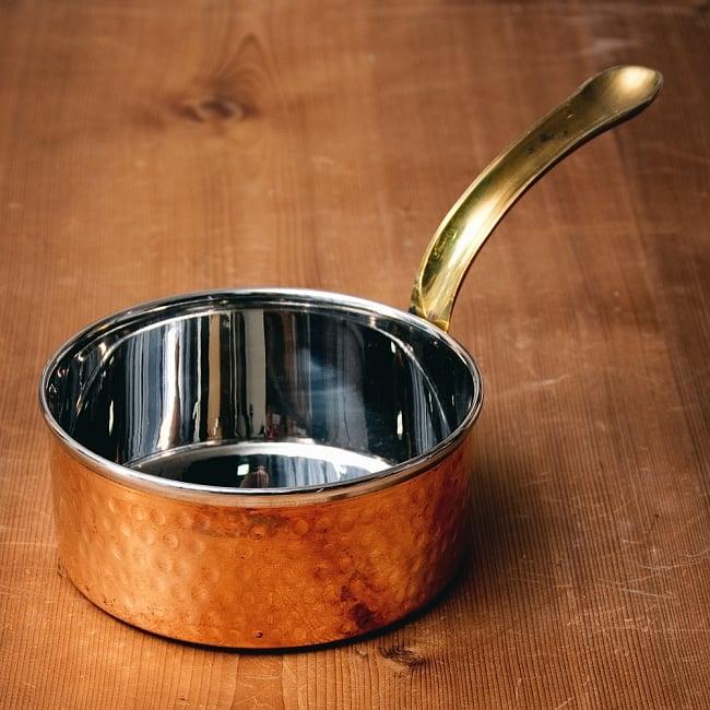 槌目付き 銅装飾のロイヤルソースパン(12.8cm×5.4cm) 2 - 全体写真です
