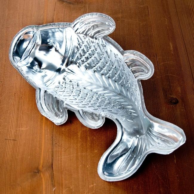 縁起の良い鯉 魚の形をしたアルミニウム製 お菓子の型 - 27cm 7 - 内部はこのようになっております