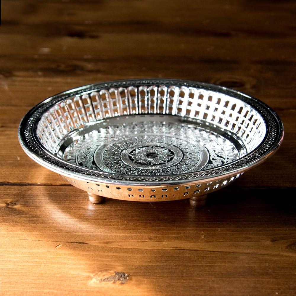 タイのお供え入れ 飾り皿 ゴールドとシルバー〔約16.5cm〕 3 - 横からの写真です