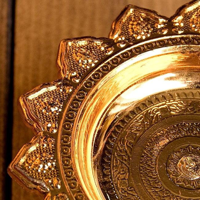 タイのお供え入れ 飾り皿 カッパーメタリック〔高さ:約5cm 直径:約9.5cm〕 3 - 拡大写真ですです