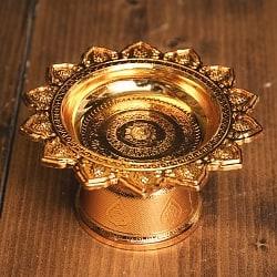 タイのお供え入れ 飾り皿 カッパーメタリック〔高さ:約5cm 直径:約9.5cm〕