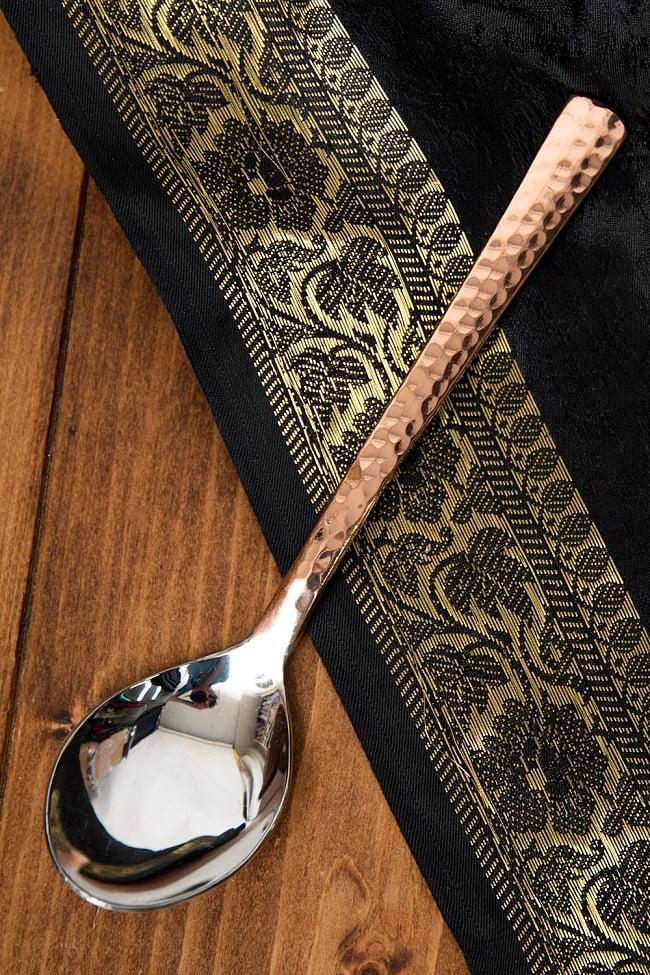 銅装飾槌目仕上げ カレースプーンの写真