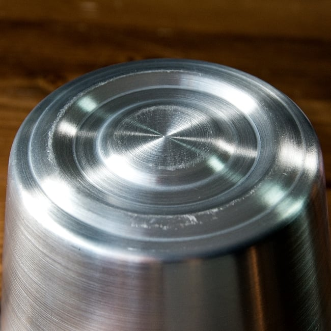 軽いアルミ製 タイの屋台アイスペール[約:14.8cm 1200cc] 6 - 底面です