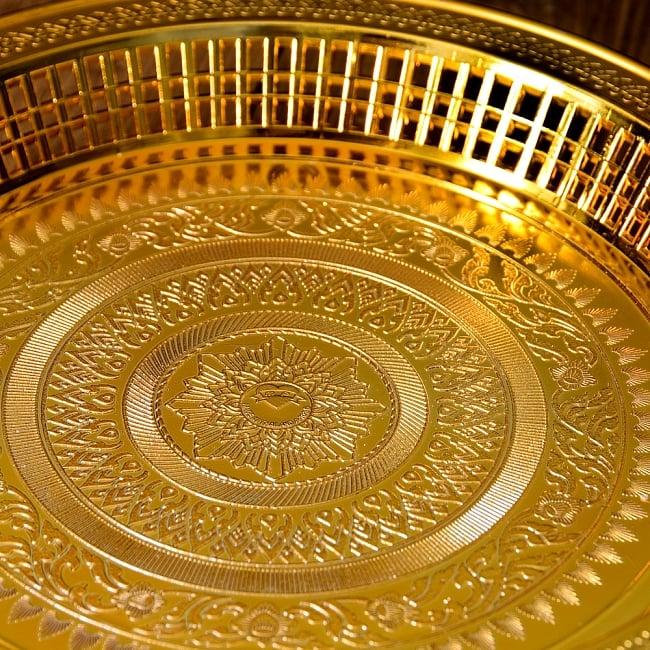 タイのお供え入れ 飾り皿 ゴールドとシルバー〔約31.5cm〕 4 - とても雰囲気があります