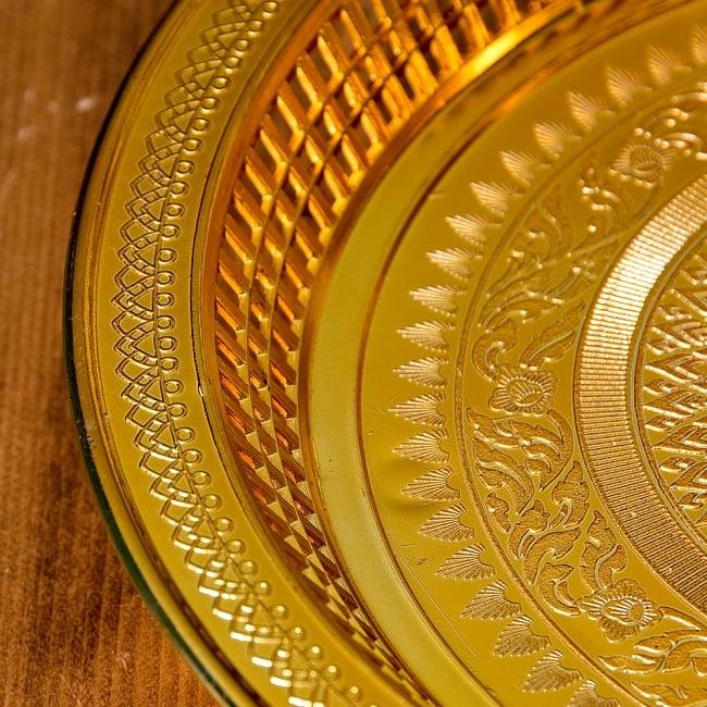 タイのお供え入れ 飾り皿 ゴールドとシルバー〔約31.5cm〕 5 - 縁の写真です