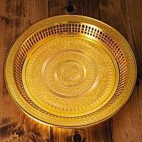 タイのお供え入れ 飾り皿 ゴールドとシルバー〔約31.5cm〕