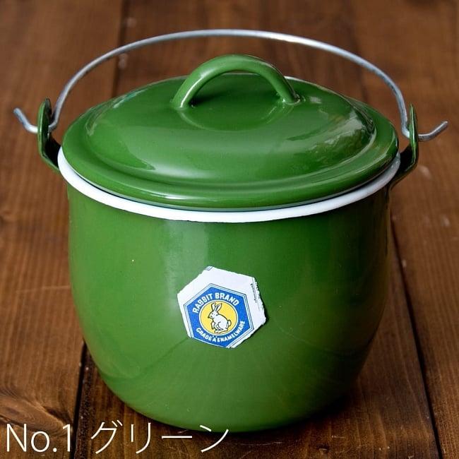 RABBIT BRAND 蓋とハンドル付きレトロホーローポット タイの昔ながらのお鍋 15 - 【No.1 グリーン】