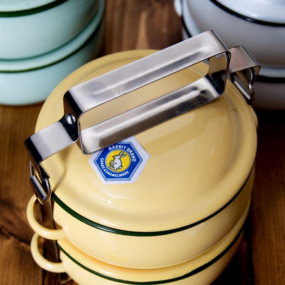 〔2段〕RABBIT BRAND タイのレトロホーローお弁当箱〔約17cm×約13.2cm〕 5 - 上からの写真です
