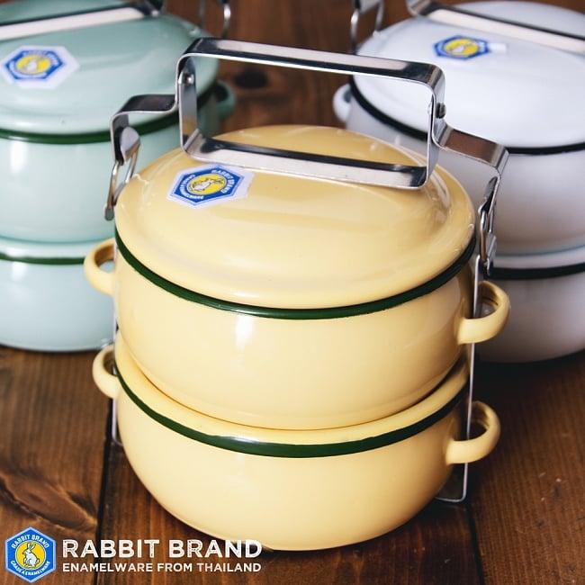 〔2段〕RABBIT BRAND タイのレトロホーローお弁当箱〔約17cm×約13.2cm〕 1