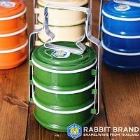 〔3段〕RABBIT BRAND タイのレトロホーローお弁当箱〔約20cm×約10.5cm〕