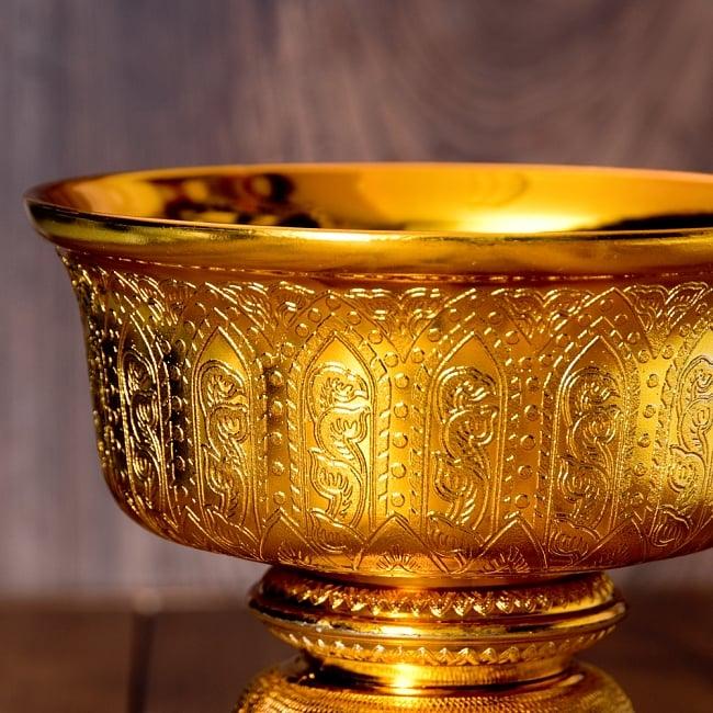 タイのお供え入れ 飾り器 ゴールドとシルバー〔高さ:約17cm 直径:約19.7cm〕 2 -