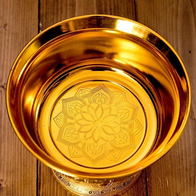 タイのお供え入れ 飾り器 ゴールドとシルバー〔高さ:約17cm 直径:約19.7cm〕 4 -