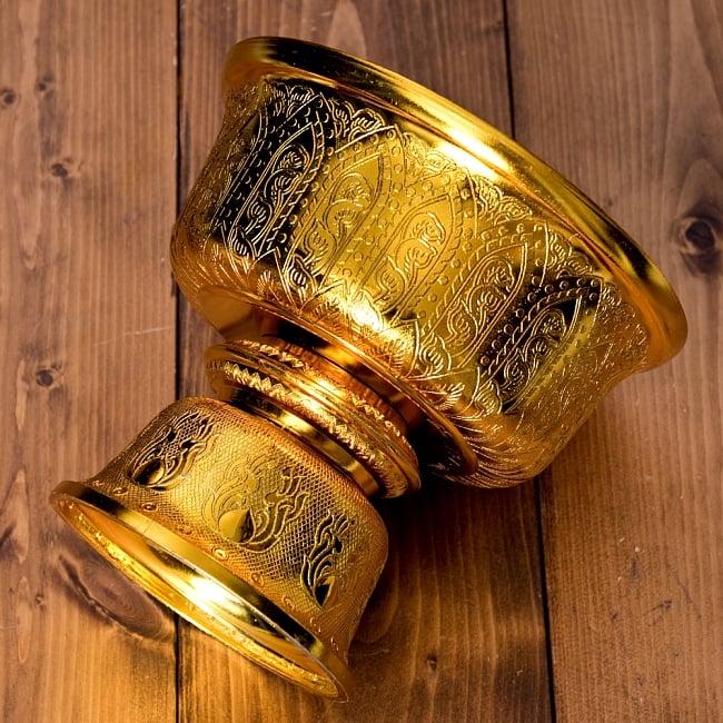 タイのお供え入れ 飾り器 ゴールドとシルバー〔高さ:約17cm 直径:約19.7cm〕 6 -