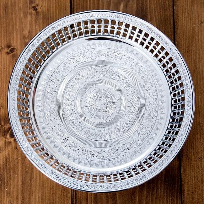 タイのお供え入れ 飾り皿 ゴールドとシルバー〔約23.5cm〕 3 - 【選択:A】シルバー上からの写真です