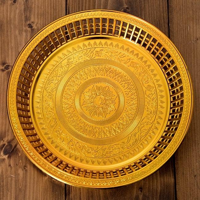 タイのお供え入れ 飾り皿 ゴールドとシルバー〔約23.5cm〕 4 - 【選択:B】ゴールドの写真です。