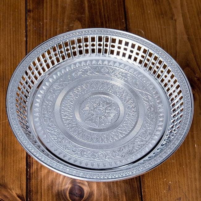 タイのお供え入れ 飾り皿 ゴールドとシルバー〔約23.5cm〕の写真