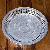 タイのお供え入れ 飾り皿 ゴールドとシルバー〔約23.5cm〕